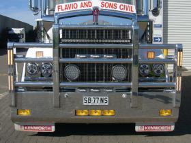 KENWORTH T409 SAR Custom bult FUPS compliant polished alloy bull bar.     #43